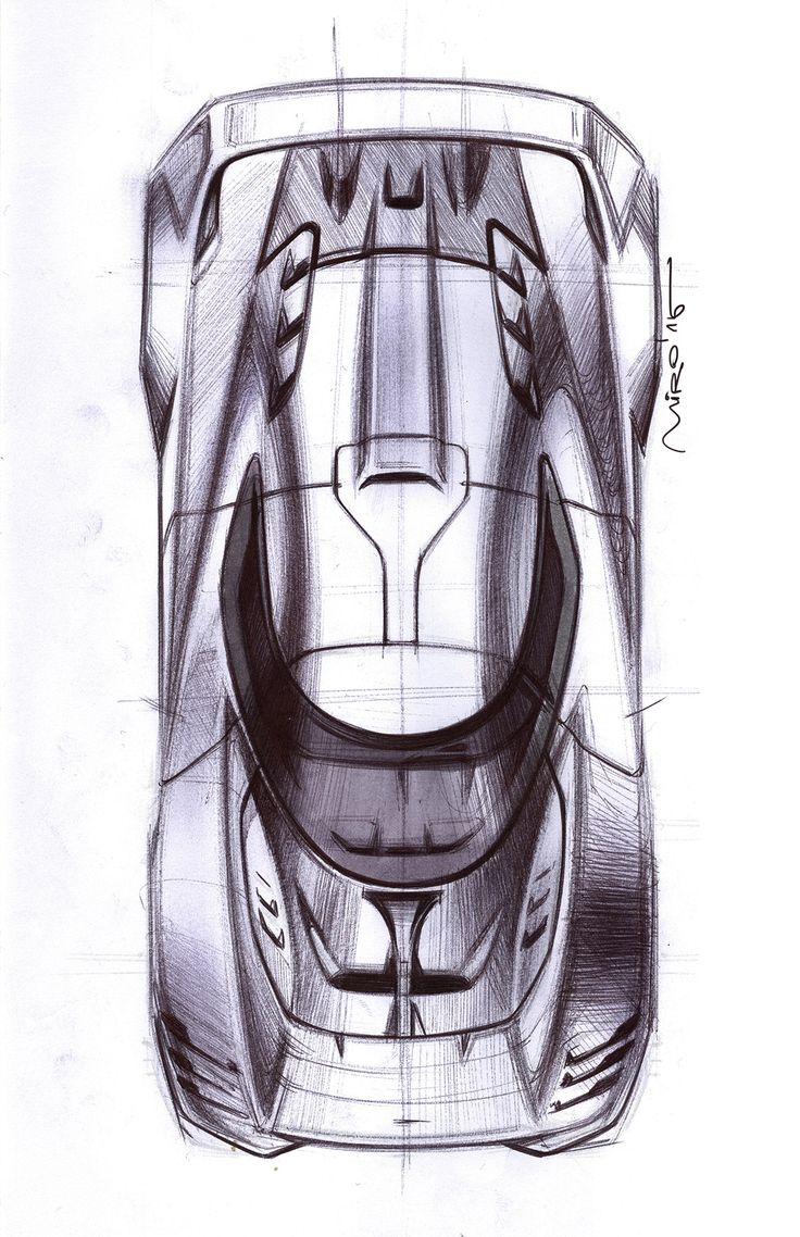 This effective sketch uses contour lines to outline the shape, and shading with the variation of line patterning.