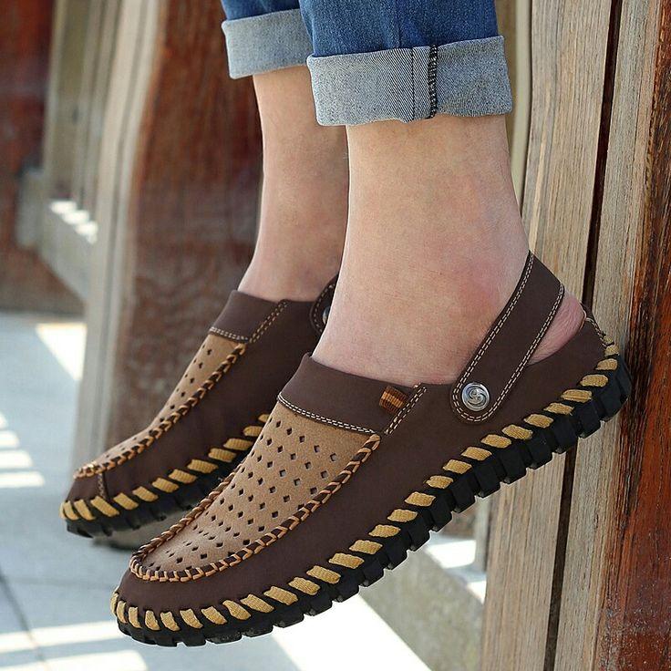 >> comprar aqui << Prelesty Marca Urban Transpirable Hombres Holgazanes Casuales Zapatos Zapatos de Los Hombres Zapatos de Conducción de Cuero Sin Espalda Espalda Abierta Agujeros