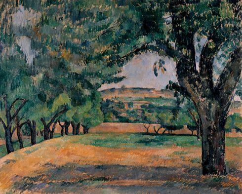 "Paul Cézanne- ""The Neighborhood of Jas de Bouffan (Environs du Jas de Bouffan)."" 1885–87 - Guggenheim Museum"