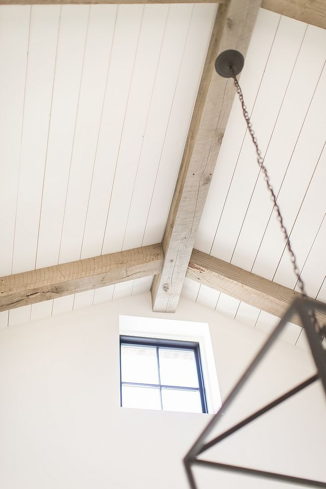 Plank Ceiling Ceiling Is Clad With White Planking And Reclaimed Beams Plankceiling Ceiling Beams Vaulted Ceiling Beams Plank Ceiling Wood Plank Ceiling