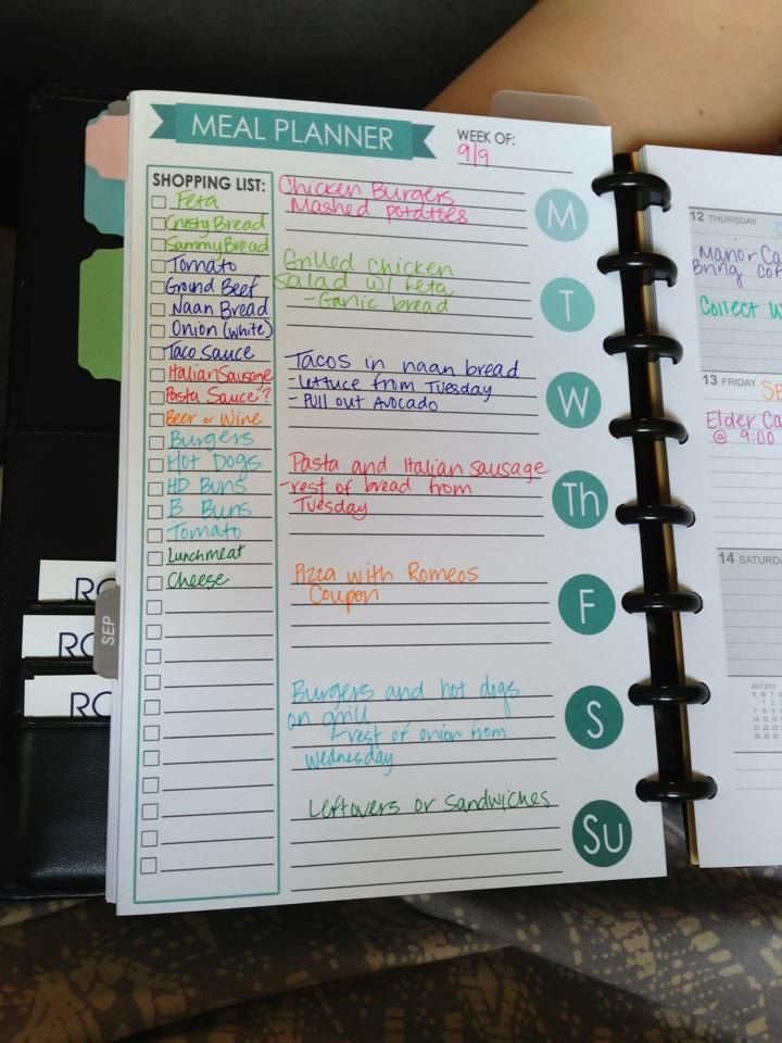 Meal planner color coded agendas filofax ideas for Color coding planner