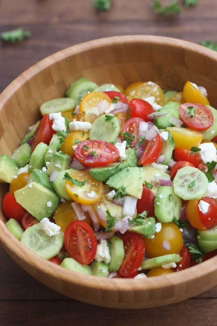 Tomato Cucumber Avocado Salad is the perfect EASY, light and fresh summer side dish.