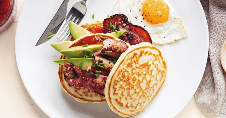 Begin the day with a delicious lactose-free pancake stack, topped with crispy bacon, avocado, eggs and tomato chutney.