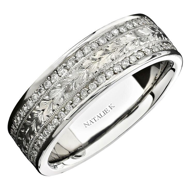 Natalie K Mens Diamond Antique Style 18k White Gold