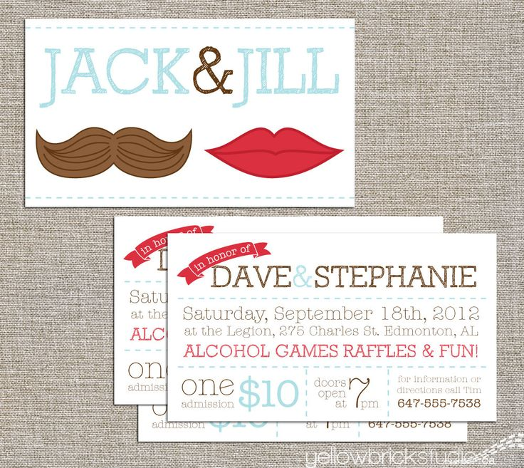 Jack jill tickets mr and mrs 250 or 500 double sided for Jack and jill tickets templates