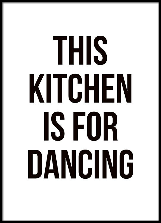 Lovely typography print for the kitchen in black and white.