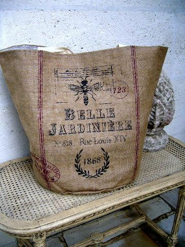 I made one similar to this using a burlap bag from Pottery Barn and my stamp collection with ink.