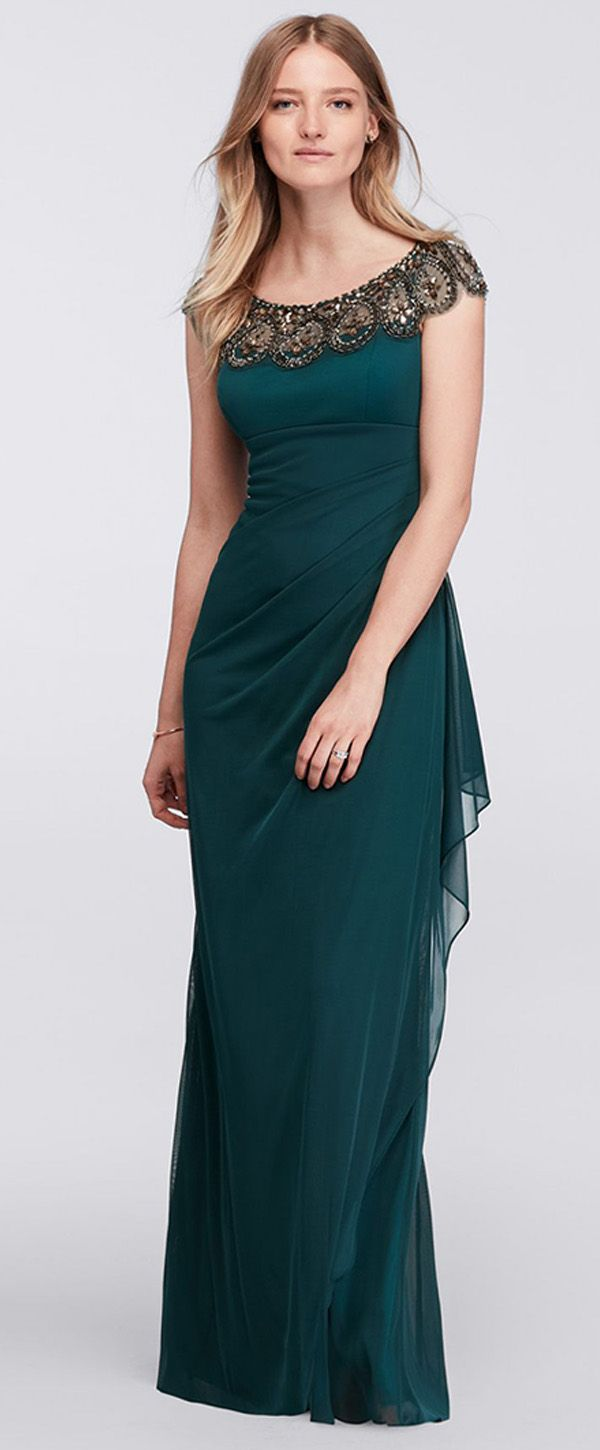 Graceful Tulle & Chiffon Scoop Neckline Sheath Mother Of The Bride Dresses With Beadings