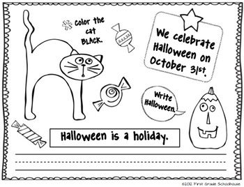 Printable from HALLOWEEN BOOKLET included in I Love Halloween Literacy and Math by First Grade Schoolhouse. FIRST GRADE. $ Literacy activities galore. 3 reading centers and 3 math centers, too.    http://www.teacherspayteachers.com/Store/First-Grade-Schoolhouse