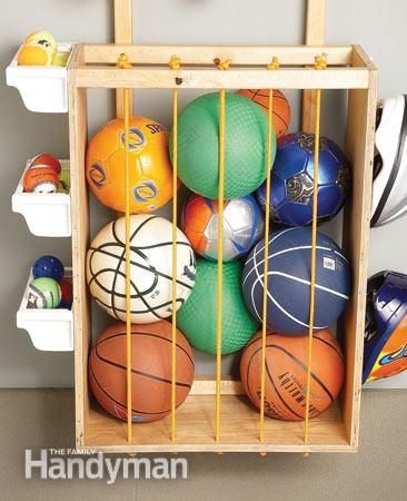 I love this!  DIY ball corral using bungee cording and a wooden frame.  What a great idea!        Step by Step   The Family Handyman
