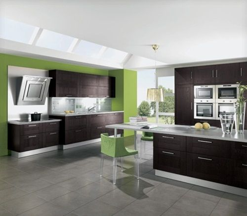 Beautify Your Home With Green Kitchen Design: Sweet Green Brown Kitchen  Ideas Design Part 53