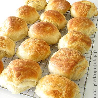 Aberdeen Butteries - Rowies / www.delightfulrepast.com #ScottishRecipe for a flaky, buttery, pastry-like bread roll