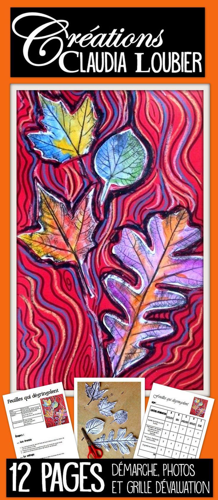 Activité d'art pour le 3e cycle du primaire. Peut se faire en 1er et 2e secondaire. Ma façon de travailler les feuilles d'automne. Vous aurez besoin d'encre ou de gouache, ainsi que des crayon de bois de couleur ou des crayons de cire à papier construction. Grille d'évaluation incluse.
