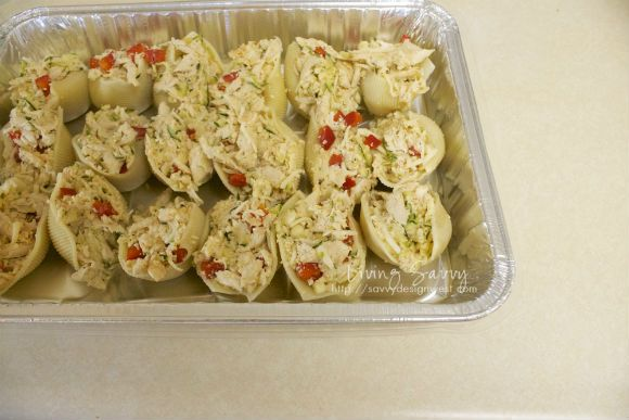 Living Savvy: chicken and zucchini stuffed shells with pesto sauce