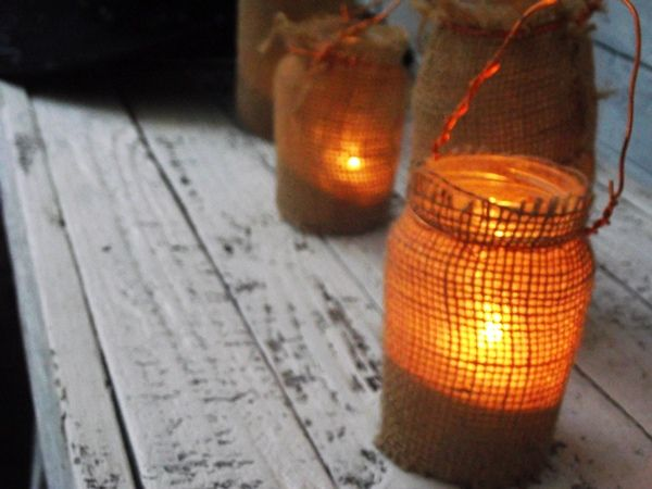 Greatfun4kids: Rustic Burlap jar lanterns - perfect for Western or cowboy themed parties