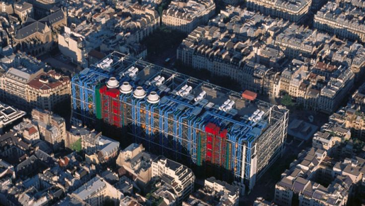 Archive photography from Renzo Piano and Richard Rogers shows the Centre Pompidou in Paris, which is celebrating its 40th birthday