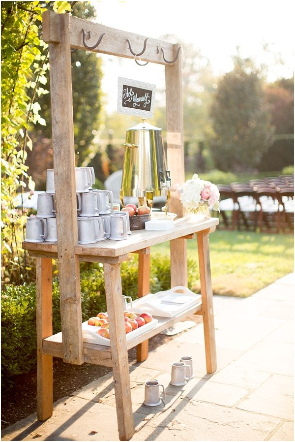 Apple cider station!! (Abby Grace Photography / A Trendy Wedding)