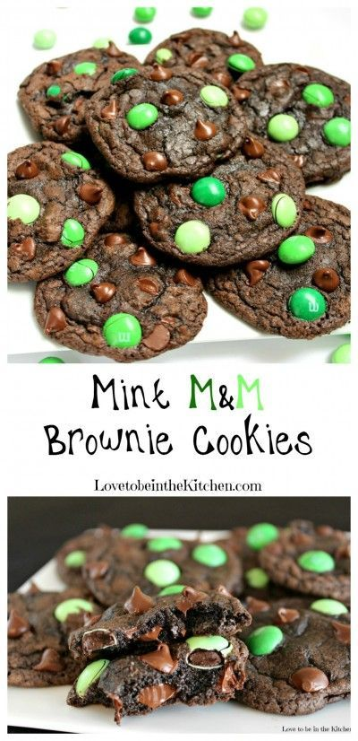 Mint M&M Brownie Cookies   Perfect dessert for St. Patrick's Day!