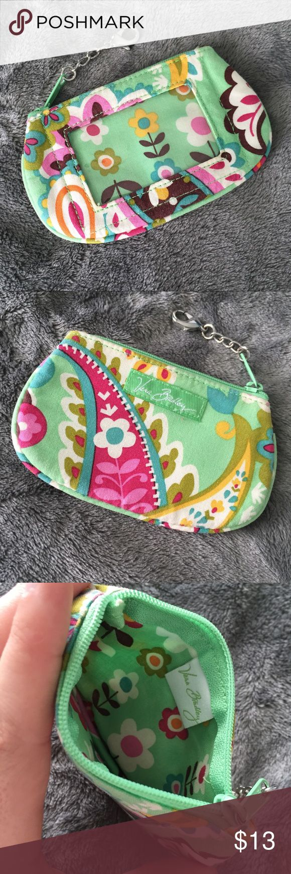 """Vera Bradley """"Tutti Frutti"""" Zip ID Wallet Cute and small zip ID wallet with clear window. Clasps onto a keys or anything for convenience. In great condition! PRICE FIRM. Vera Bradley Bags Wallets"""