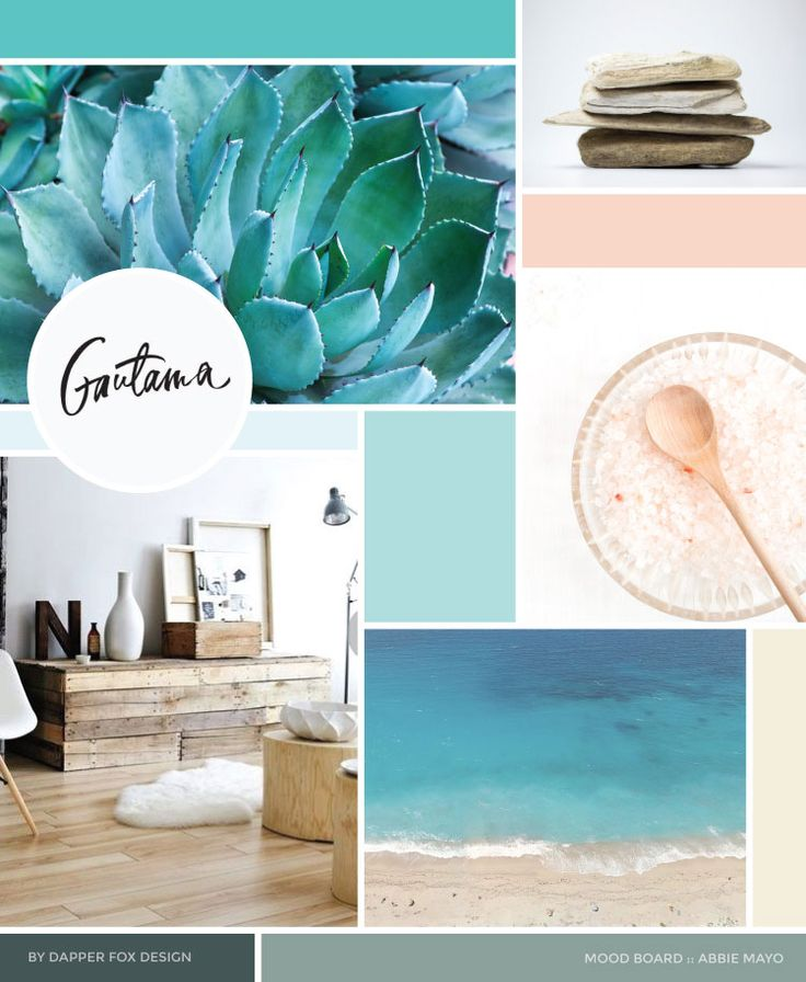 MOOD BOARD - Health Coach Website Design and Branding by Dapper Fox. Modern, Clean, Ocean, Green, Blue, Pink, Coral Colorful Design. Branding and web design for entrepreneurs and small businesses by Dapper Fox