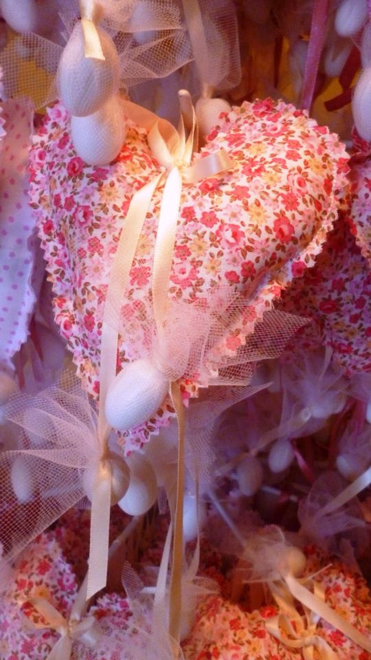 Fabric floral heart#fabricheart #christening #favors #marriage #mpomponieres #handmadeheart