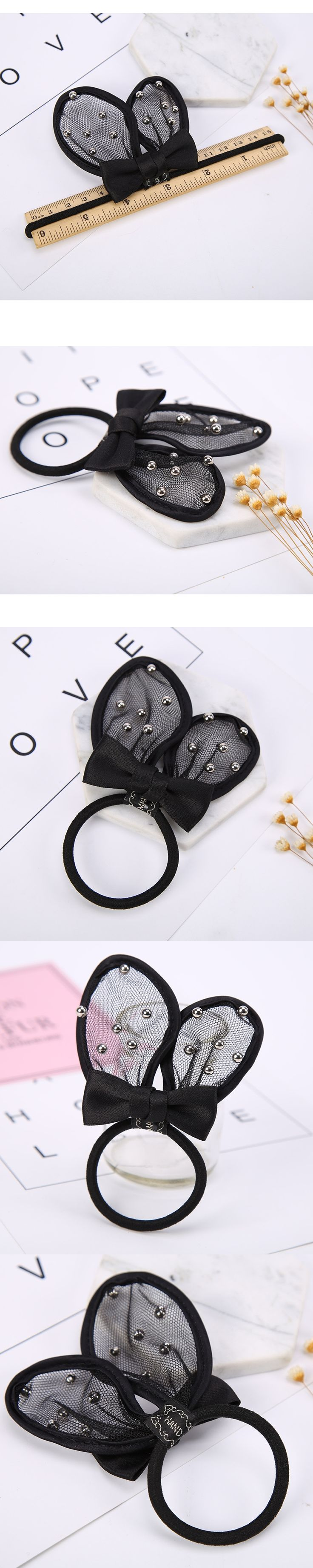 Black Small Beads Gauze Cloth Ear Ribbon Bow Knot Rubber Bands Gum Elastic Hair Bands for Girls Womne Headwear