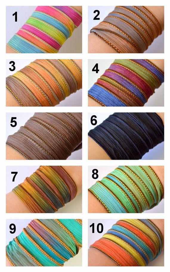 Be still Silk Wrap Bracelet Boho wrap Silk Ribbon by SailorStudio