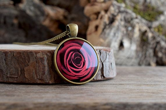 Red rose pendant necklace Valentines day gift Red by TriccotraShop