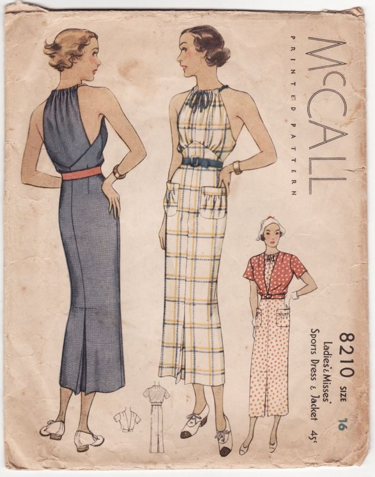Rare Vintage 1930s Sewing Pattern - Sports Dress with Unusual Drawstring Gathered Neck & Short Sleeve Jacket - 1935 McCall 8210, Bust 34. $75.00, via Etsy.