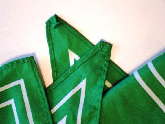 Vintage Green Scarf with White Stripes Girl Guides of Canada 1980s Pathfinders
