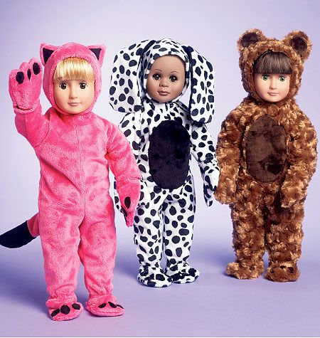Bear, dalmation, and cat costumes for doll