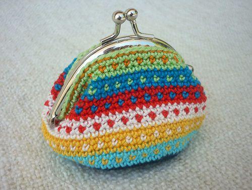 Cute tapestry crochet purse