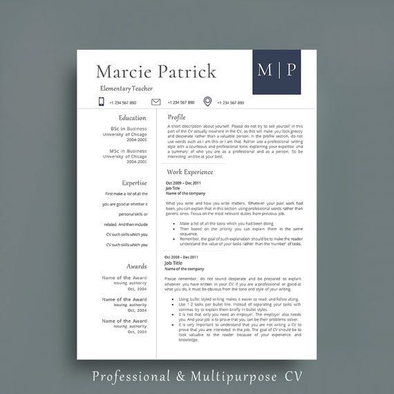 Professional Resume Template. CV Template + Cover Letter + References Page.  Creative Resume by AvataDesigns