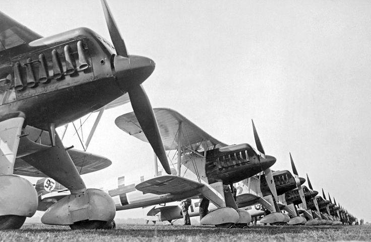 The Heinkel He 51 was one of the first fighter aircraft of the Luftwaffe, having been designed in secret. Overall its performance was similar to the Hawker Fury which equipped RAF fighter squadrons.