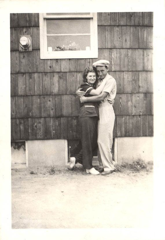 vintage photo Lovers Hug by the House lovey dovey by maclancy