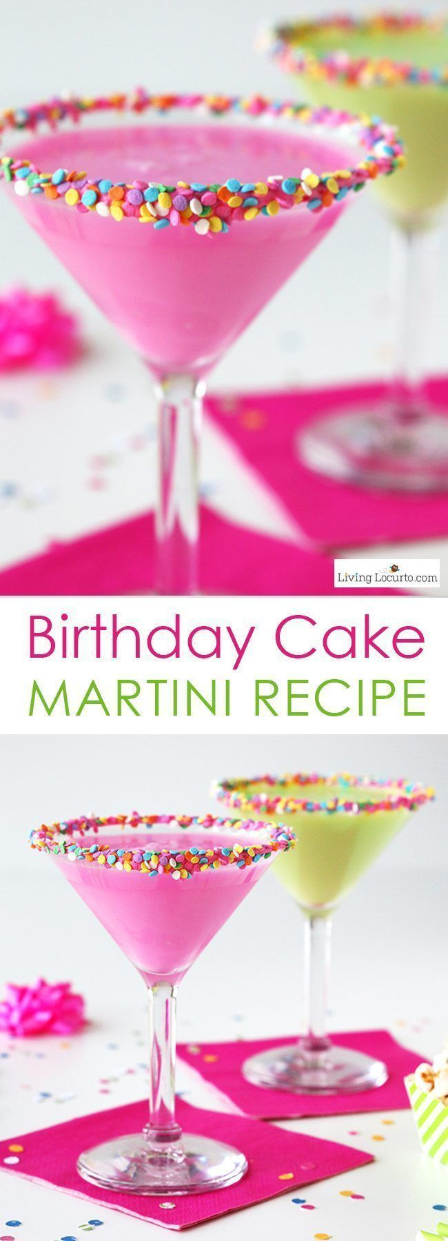 Colorful Birthday Cake Martini. An easy cocktail recipe that tastes just like a birthday cake! One of the Best Party Recipe Drink Ideas. LivingLocurto.com
