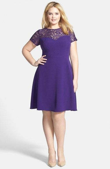 Adrianna Papell Fit & Flare Dress with Illusion Lace (Plus Size)