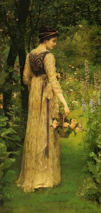 Tumblr: Secret Gardens, Cottages Gardens, The Artists, Delphiniums, Pre Raphaelite, Vintage Lady, Flowers Baskets, The Dresses, Painting