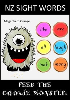 A super-fun hands-on activity for your students learning their sight words at the Magenta to Orange levels of the NZ colour wheel.Laminate the Cookie Monster and cut a hole in its mouth.  Students read the sight word on the cookie and feed it to the Cookie Monster.