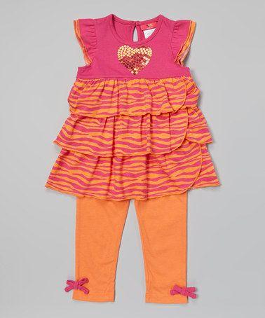 Look at this #zulilyfind! Fuchsia Sequin Heart Tunic & Leggings - Infant, Toddler & Girls #zulilyfinds