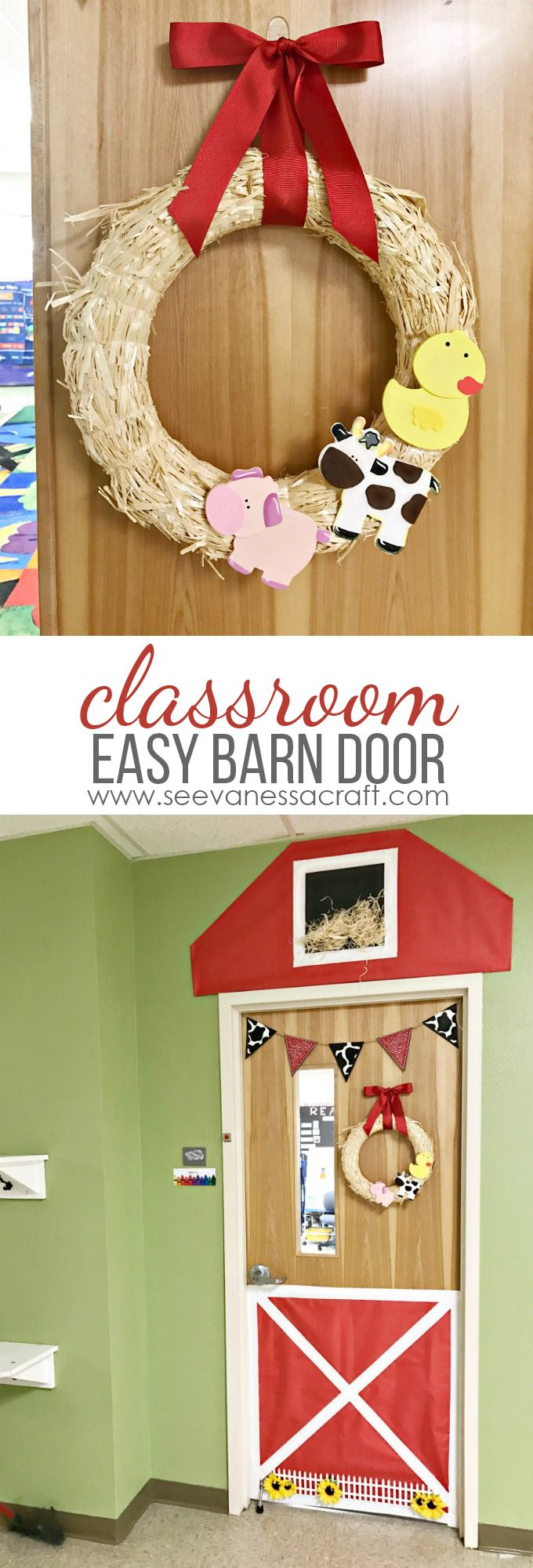 Easy Classroom Barn Door and Farm Animal Wreath - perfect for a kindergarten farm unit or barnyard party!