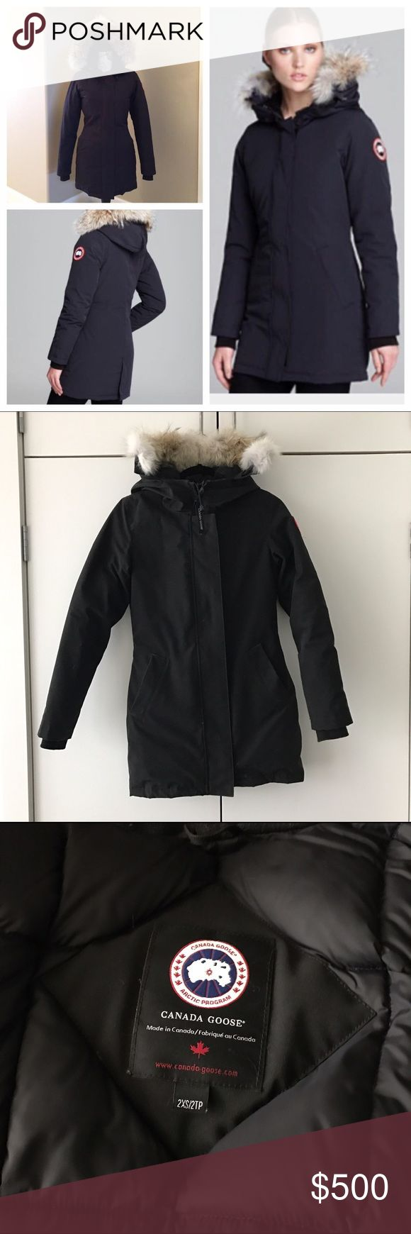 Canada Goose Victoria Parka 2xs Black Have you ever wanted a Canada Goose parka but didn't want to spend $900? Now is your chance! I'm moving from NYC to LA and trying to get rid of everything I don't need. Purchased this coat in January 2016. It's the warmest jacket I have ever owned and wish I bought it sooner. Im sad to part with it but happy to be getting away from cold weather. Reasonable offers welcome! Canada Goose Jackets & Coats