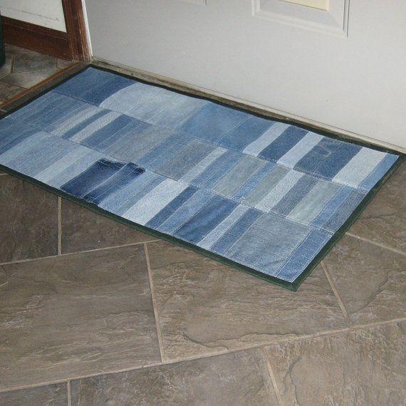 Quilted denim floor mat door rug bath mat sink by countrybydesign, $34.00