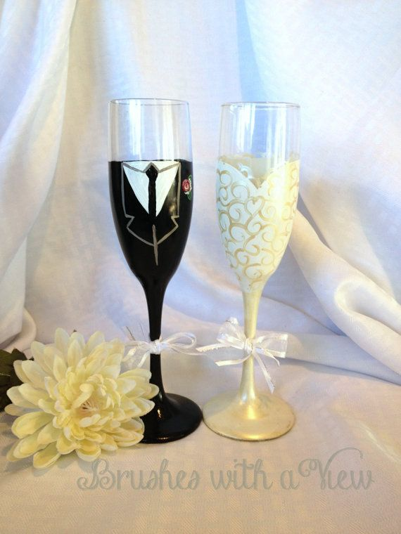 Bride and Groom  Champagne Flutes by Brusheswithaview on Etsy, $40.00