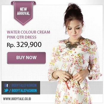 Looking sweet with water colour cream pink QTR Dress. Get it now only on: www.bodytalk.co.id
