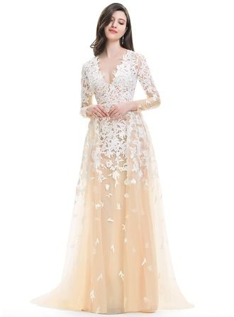 $250 A-Line/Princess V-neck Sweep Train Cascading Ruffles Zipper Up Sleeves Long Sleeves Hall General Plus No Winter Spring Summer Fall Other Colors Tulle Hight:5.7ft Bust:32in Waist:24in Hips:35in US 2 / UK 6 / EU 32 Wedding Dress