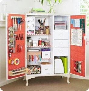 Wardrobe turned craft storage (or art supplies storage) for the kids