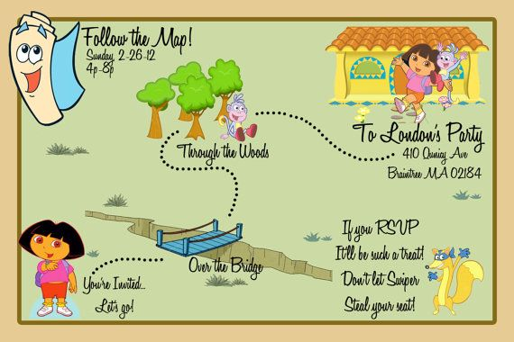 Dora the Explorer Map Invite by BehindtheDesign on Etsy