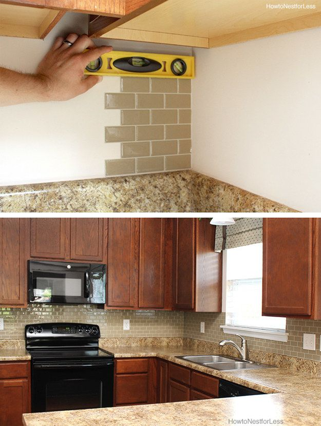 Use peel-and-stick tiles to make your backsplash look brand new (and to make it easier to clean than bare wall). | 31 Affordable Remodeling Projects You Can Actually Do Yourself