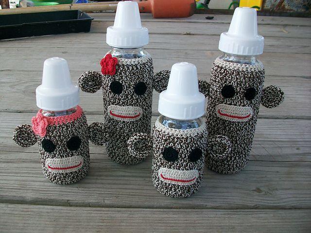 Ravelry: Sock Monkey Baby Bottle Cover pattern by April Hubbard